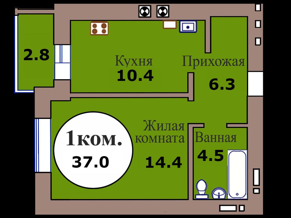 1-комн. кв. по пер. Калининградский, 5 кв. 189 в Калининграде