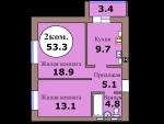 2-комн. кв. по пер. Калининградский, 5 кв. 197 в Калининграде