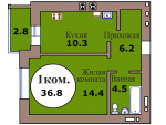 1-комн. кв. по пер. Калининградский, 5 кв. 207 в Калининграде