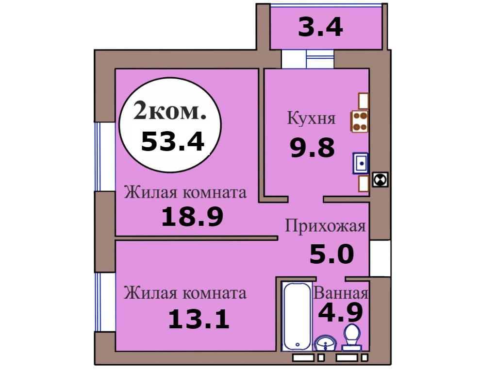 2-комн. кв. по пер. Калининградский, 5 кв. 209 в Калининграде