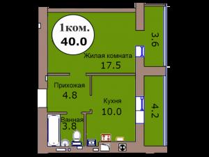 1-комн. кв. по пер. Калининградский, 4 кв. 313 в Калининграде