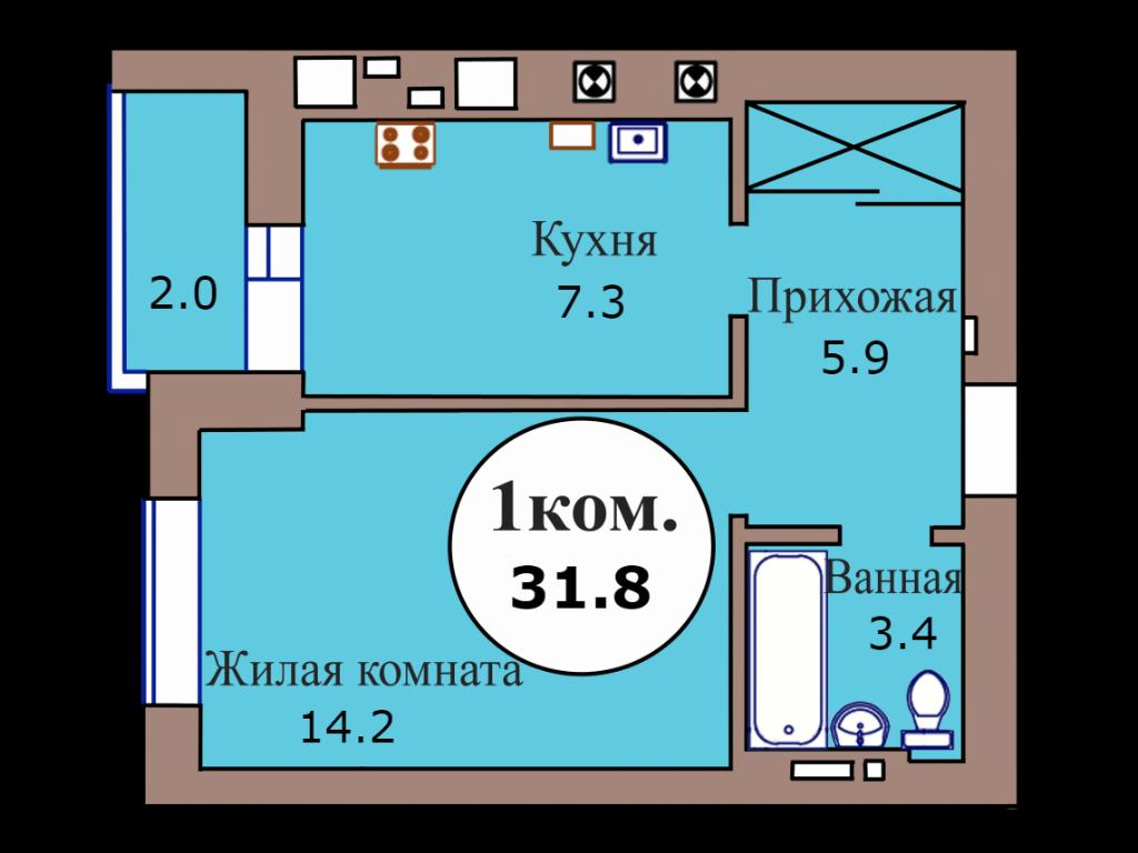 1-комн. кв. по пер. Калининградский, 5 кв. 38 в Калининграде