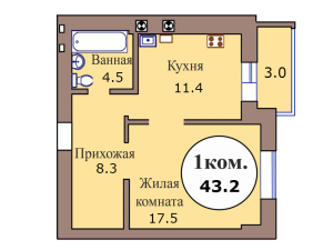 1-комн. кв. по пер. Калининградский, 4 кв. 393 в Калининграде