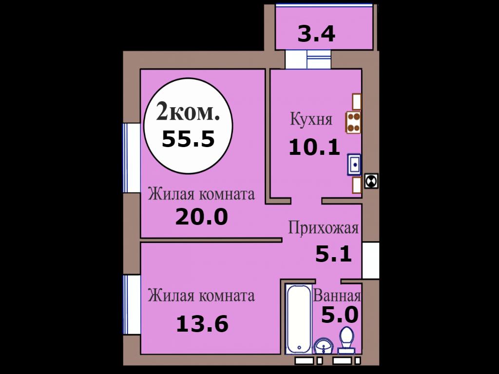 2-комн. кв. по пер. Калининградский, 4 кв. 473 в Калининграде