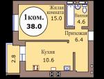 1-комн. кв. по пер. Калининградский, 4 кв. 472 в Калининграде