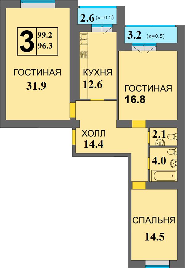 Просторная трёшка в ЖК Дадаевский