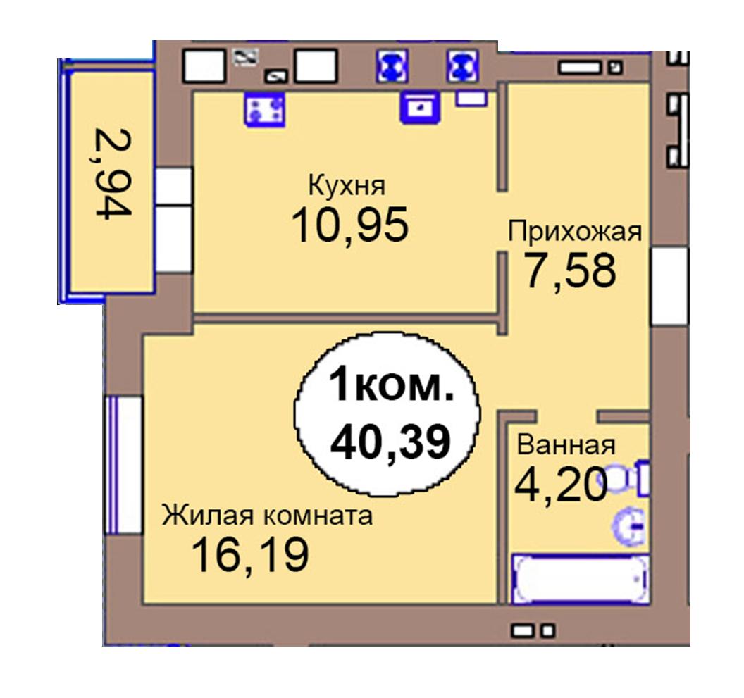 1-комн. кв. по пер. Калининградский, 4  кв. 105 в Калининграде
