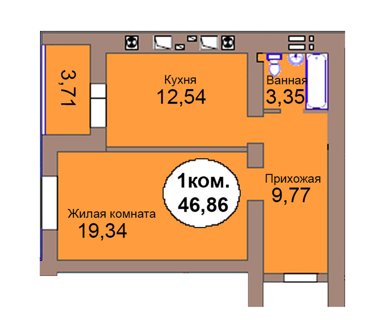 1-комн. кв. по пер. Калининградский, 4  кв. 107 в Калининграде