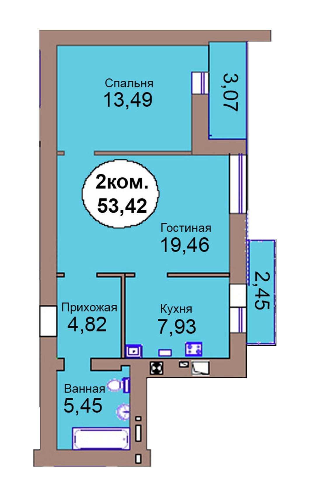 2-комн. кв. по пер. Калининградский, 4  кв. 114 в Калининграде