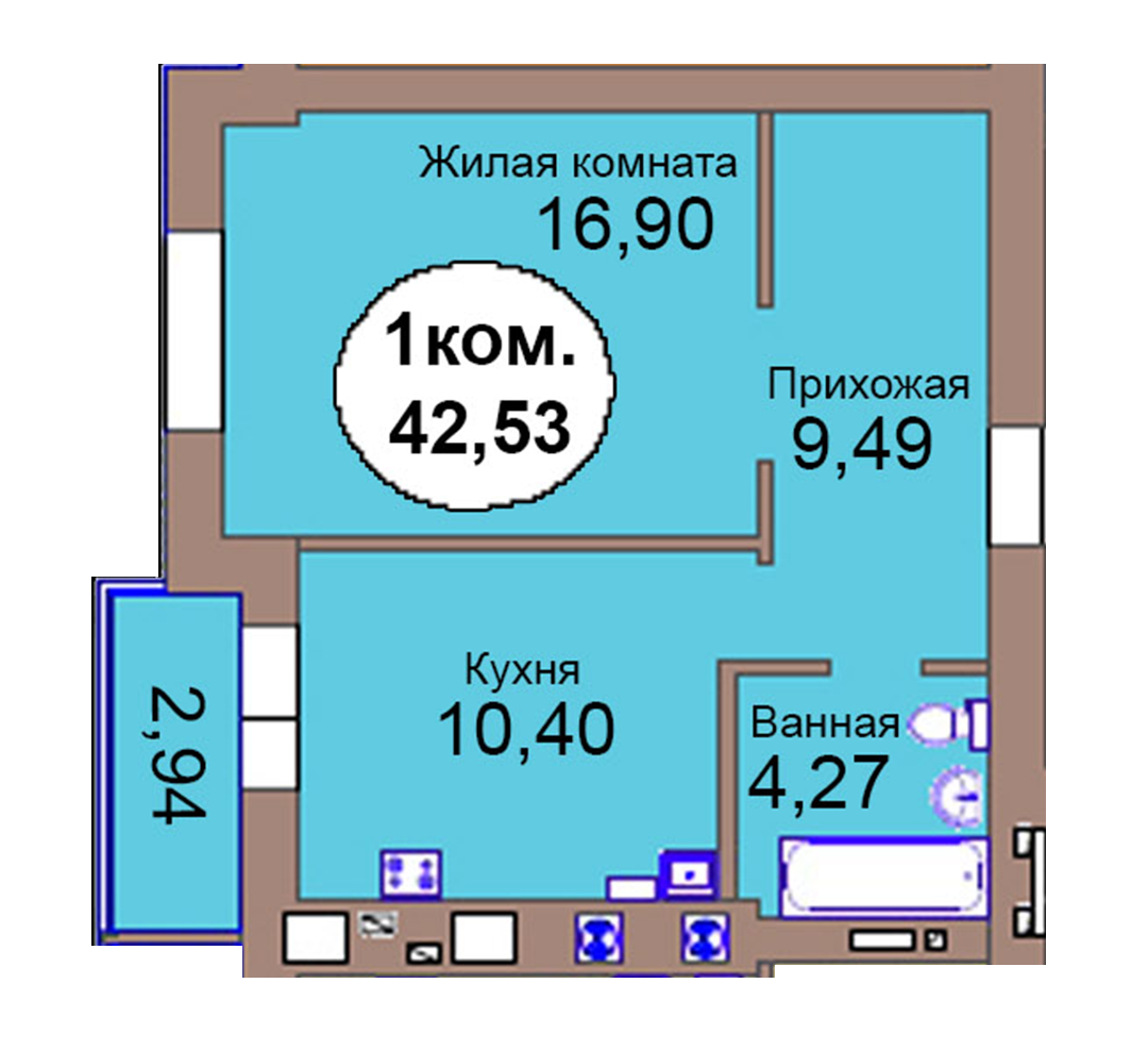 1-комн. кв. по пер. Калининградский, 4  кв. 118 в Калининграде