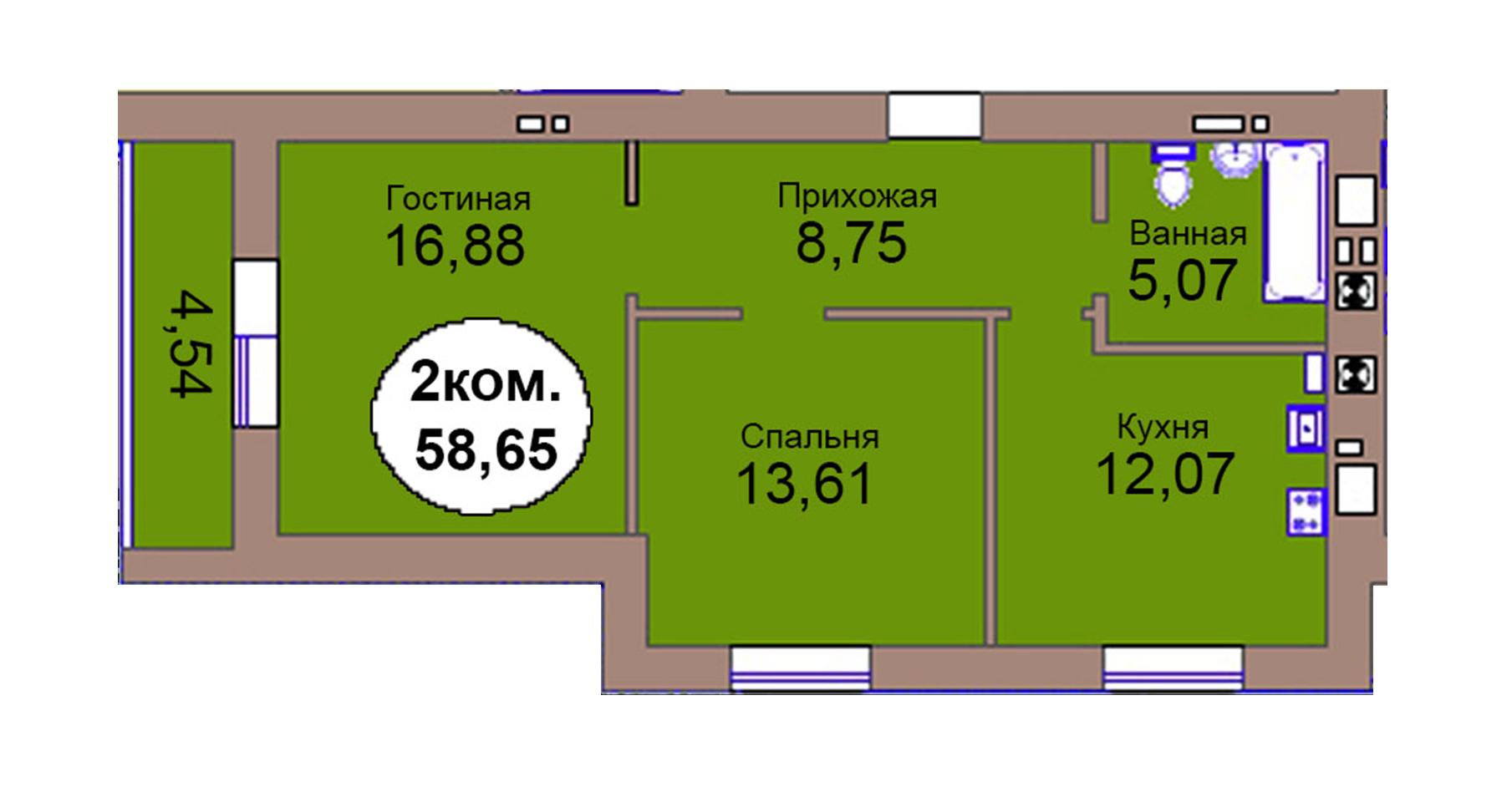 2-комн. кв. по пер. Калининградский, 4  кв. 122 в Калининграде