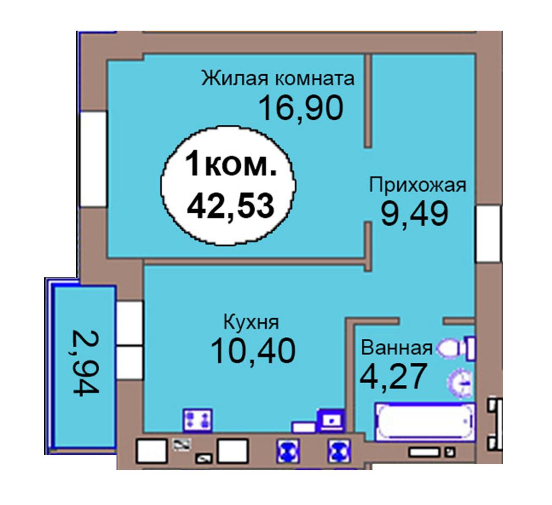 1-комн. кв. по пер. Калининградский, 4  кв. 124 в Калининграде