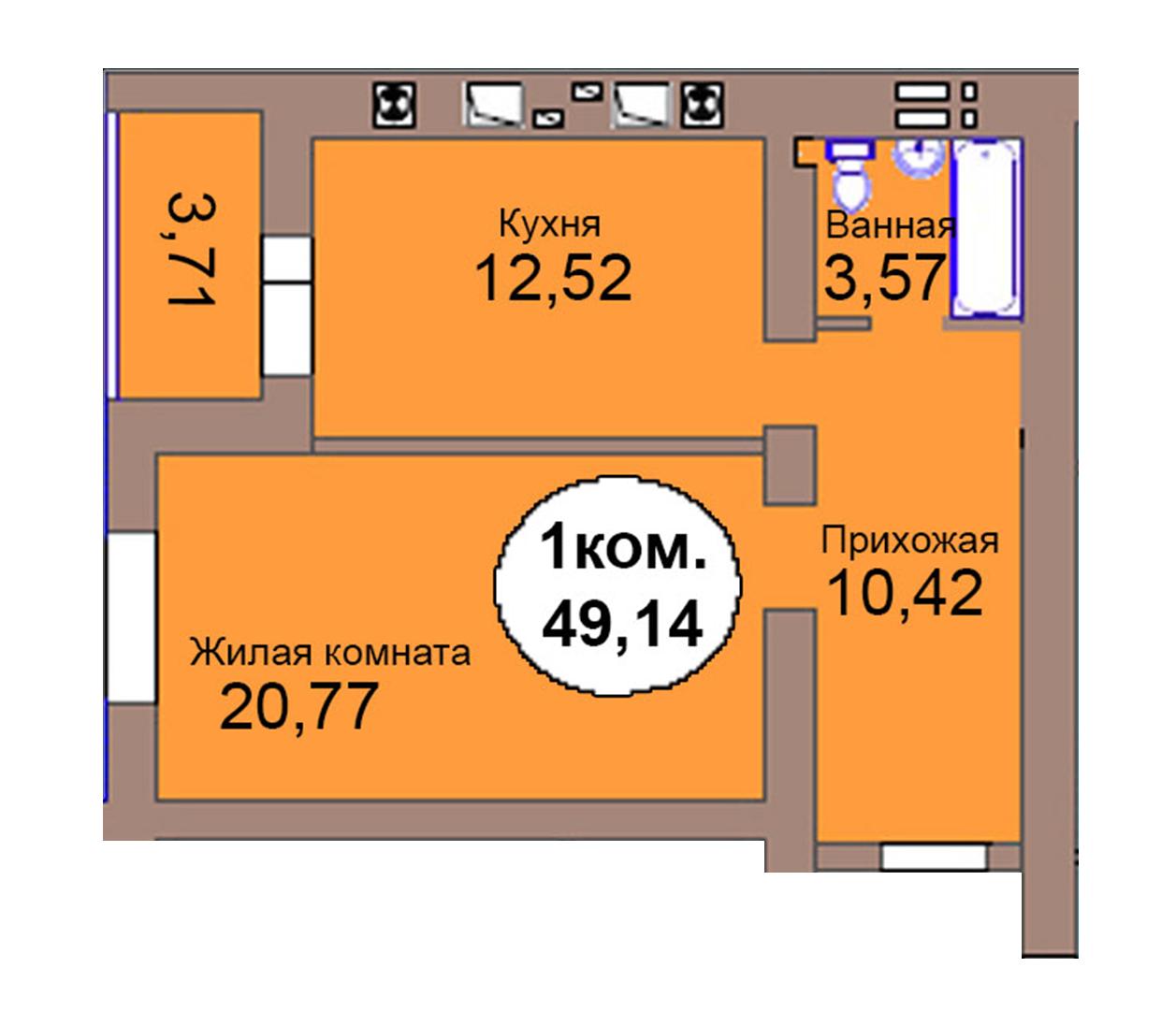 1-комн. кв. по пер. Калининградский, 4  кв. 125 в Калининграде