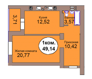 1-комн. кв. по пер. Калининградский, 4  кв. 131 в Калининграде