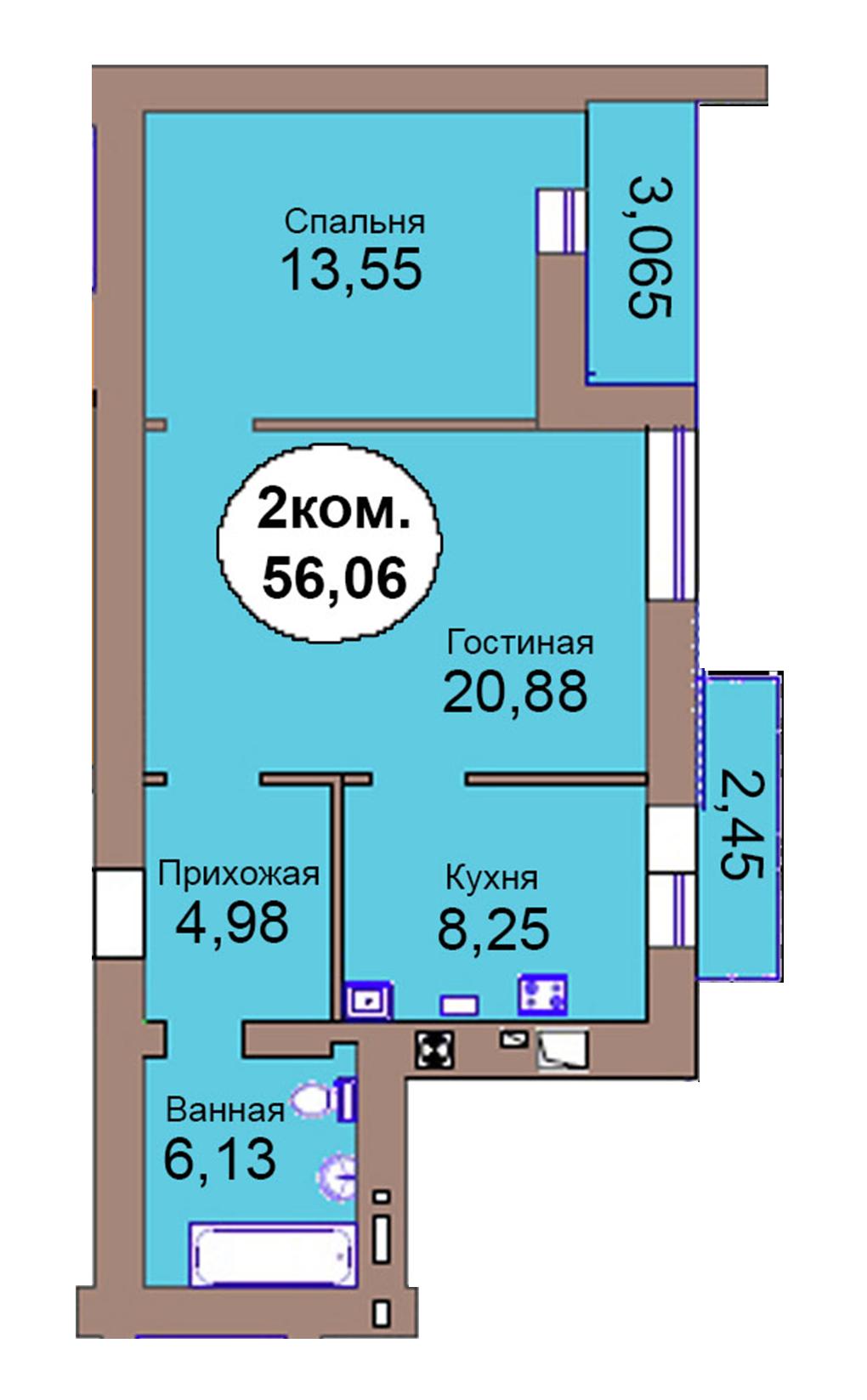 2-комн. кв. по пер. Калининградский, 4  кв. 132 в Калининграде