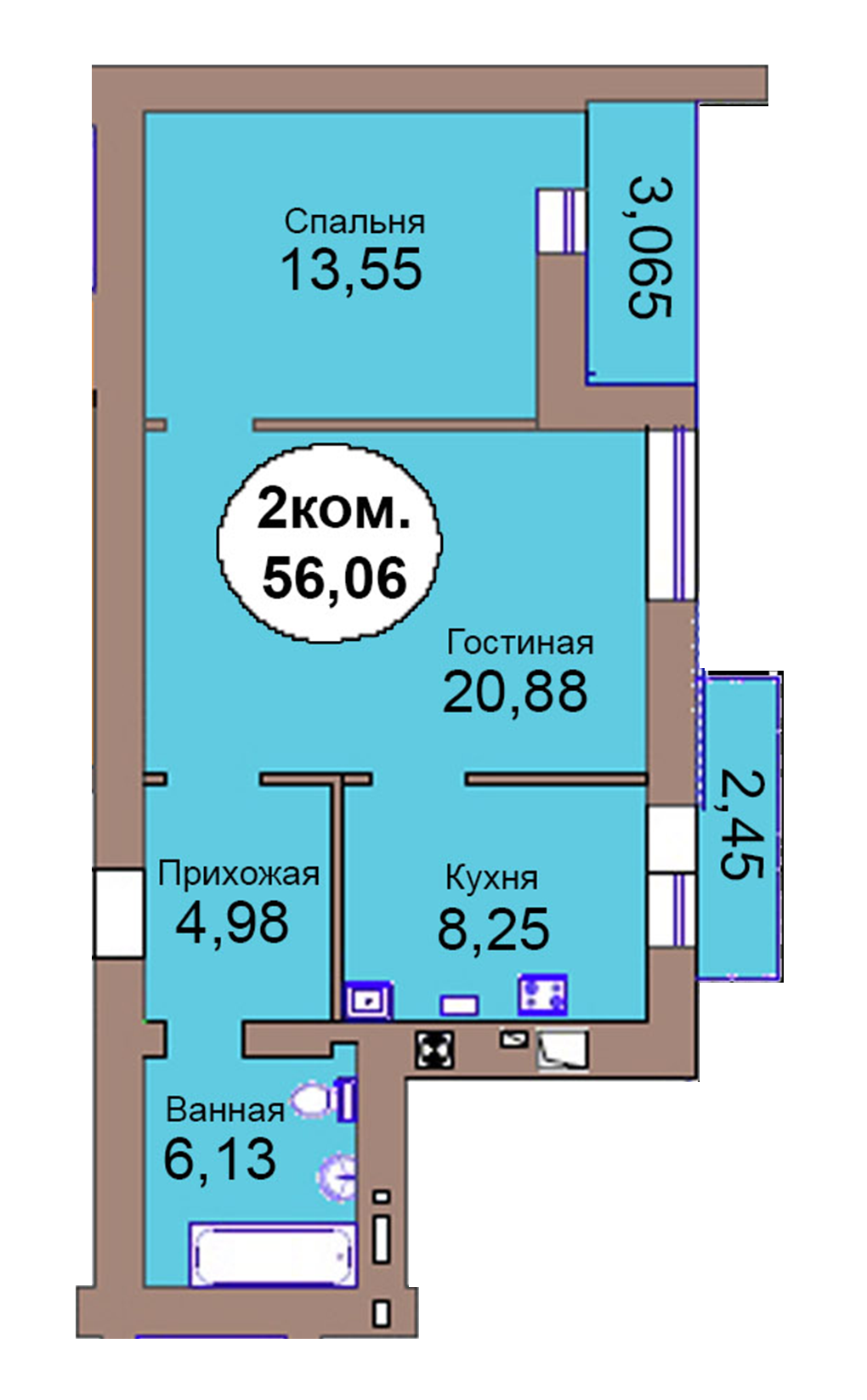 2-комн. кв. по пер. Калининградский, 4  кв. 144 в Калининграде