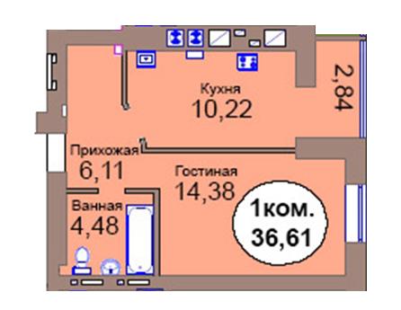 1-комн. кв. по пер. Калининградский, 4  кв. 15 в Калининграде