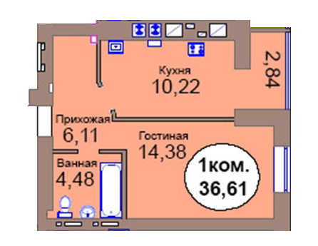 1-комн. кв. по пер. Калининградский, 4  кв. 21 в Калининграде