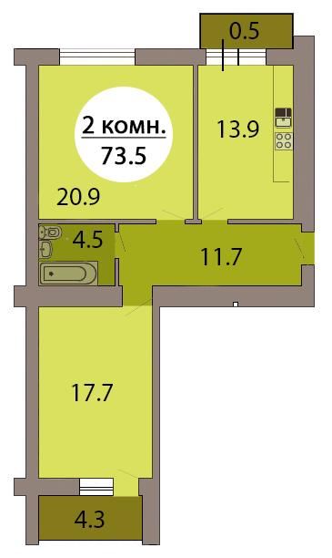 1-комн. кв. по пер. Калининградский, 4  кв. 210 в Калининграде