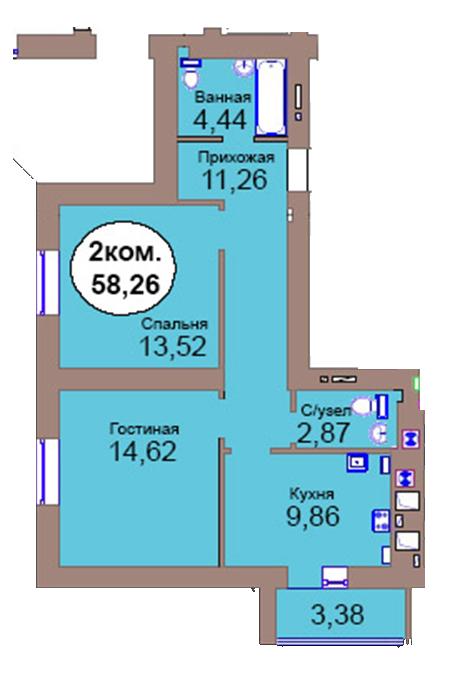 2-комн. кв. по пер. Калининградский, 4  кв. 37 в Калининграде