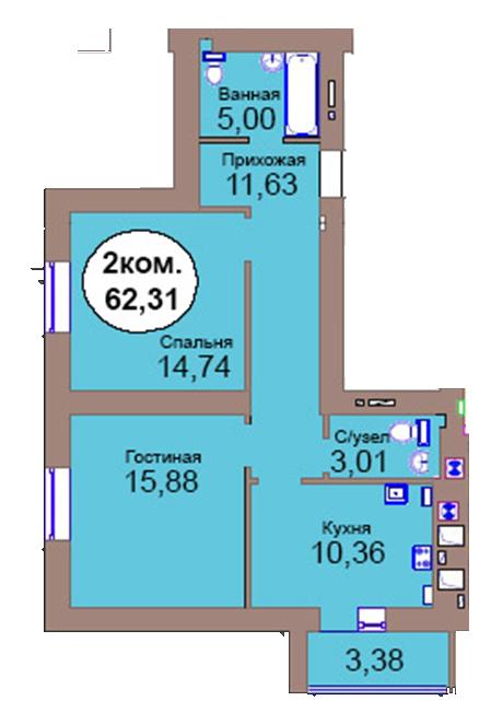 2-комн. кв. по пер. Калининградский, 4  кв. 43 в Калининграде