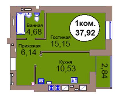 1-комн. кв. по пер. Калининградский, 4  кв. 46 в Калининграде