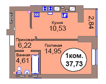 1-комн. кв. по пер. Калининградский, 4  кв. 57 в Калининграде