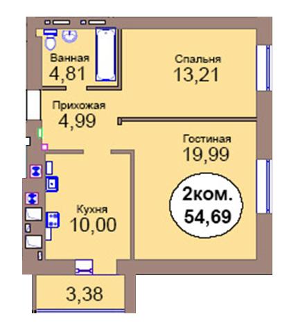 2-комн. кв. по пер. Калининградский, 4  кв. 62 в Калининграде