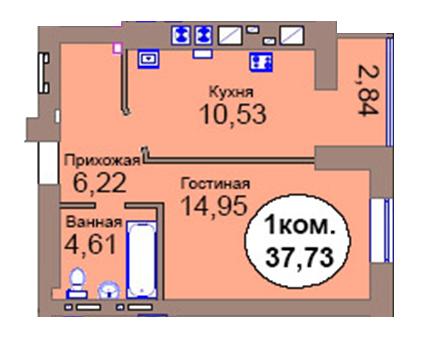 1-комн. кв. по пер. Калининградский, 4  кв. 69 в Калининграде