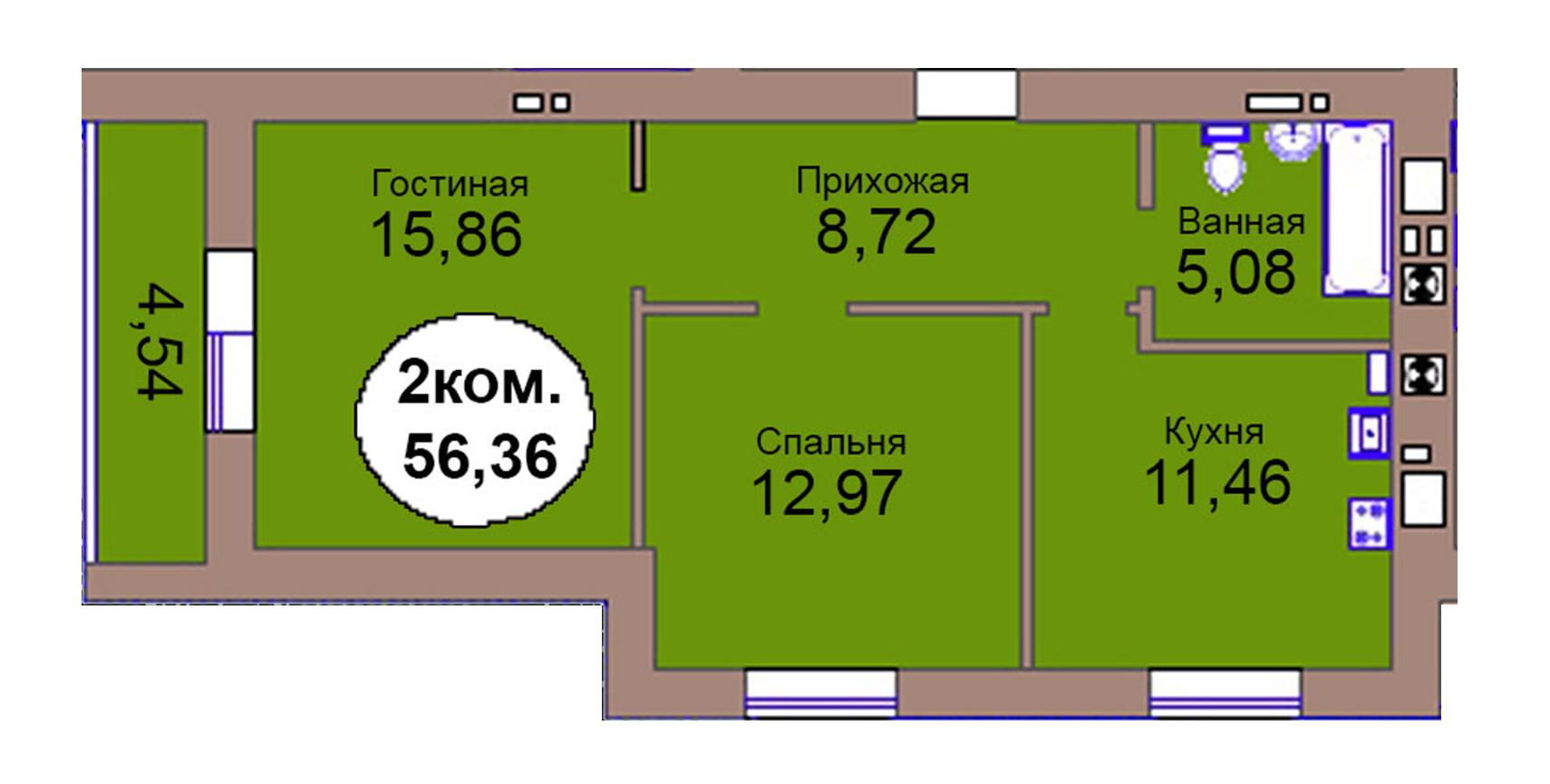 2-комн. кв. по пер. Калининградский, 4  кв. 74 в Калининграде