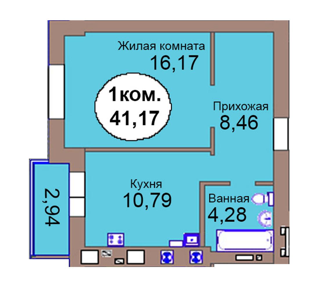 1-комн. кв. по пер. Калининградский, 4  кв. 82 в Калининграде