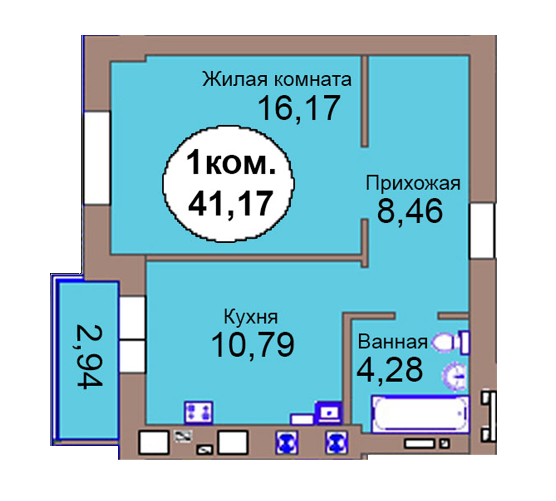 1-комн. кв. по пер. Калининградский, 4  кв. 88 в Калининграде