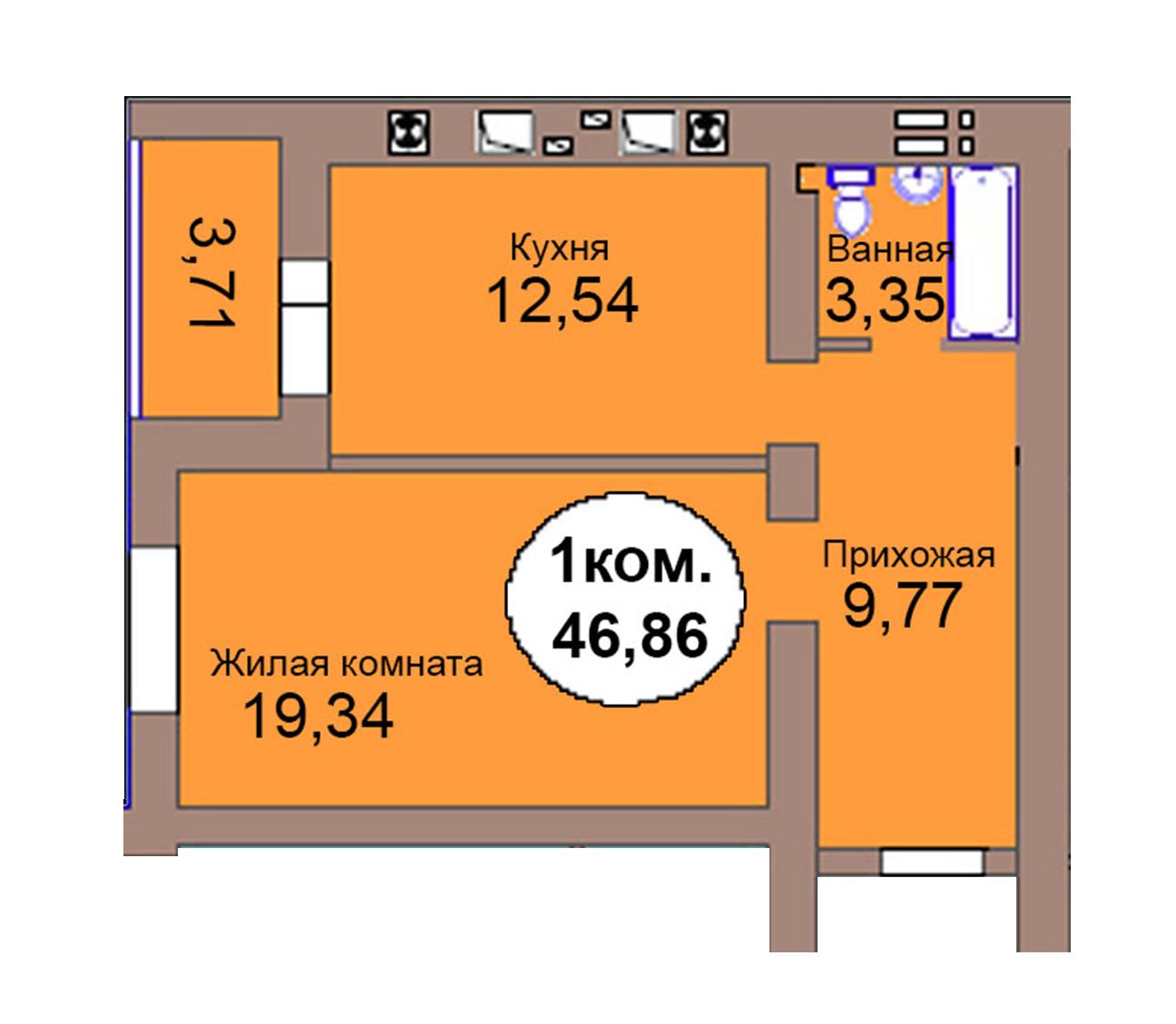 1-комн. кв. по пер. Калининградский, 4  кв. 95 в Калининграде