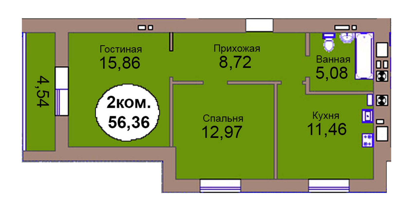 2-комн. кв. по пер. Калининградский, 4  кв. 98 в Калининграде