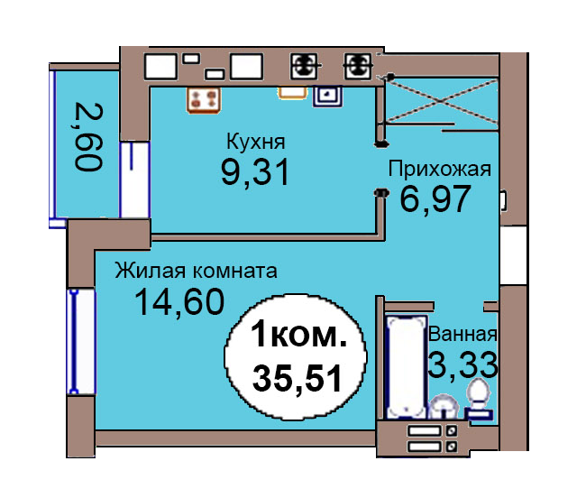 1-комн. кв. по пер. Калининградский, 4 кв. 244 в Калининграде