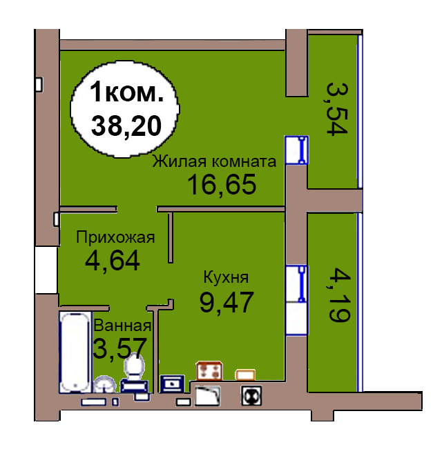 1-комн. кв. по пер. Калининградский, 4 кв. 256 в Калининграде