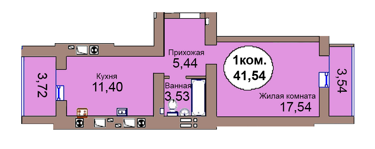 1-комн. кв. по пер. Калининградский, 4 кв. 258 в Калининграде