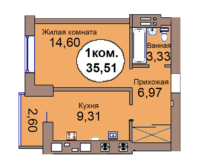 1-комн. кв. по пер. Калининградский, 4 кв. 261 в Калининграде