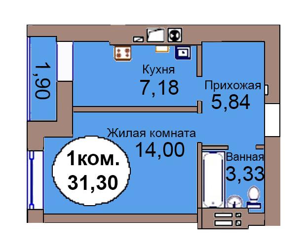 1-комн. кв. по пер. Калининградский, 4 кв. 262 в Калининграде