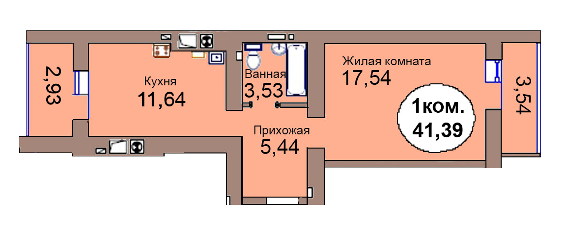 1-комн. кв. по пер. Калининградский, 4 кв. 263 в Калининграде