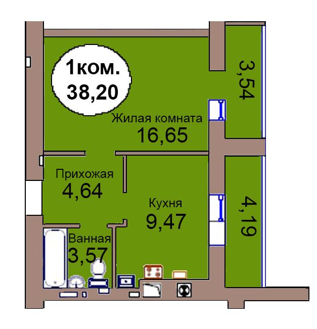 1-комн. кв. по пер. Калининградский, 4 кв. 264 в Калининграде
