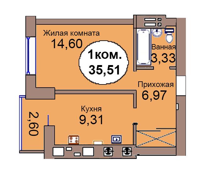 1-комн. кв. по пер. Калининградский, 4 кв. 269 в Калининграде