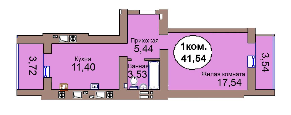 1-комн. кв. по пер. Калининградский, 4 кв. 274 в Калининграде