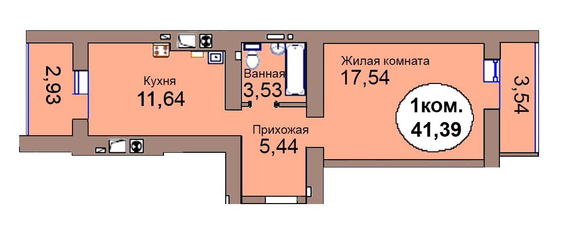 1-комн. кв. по пер. Калининградский, 4 кв. 279 в Калининграде