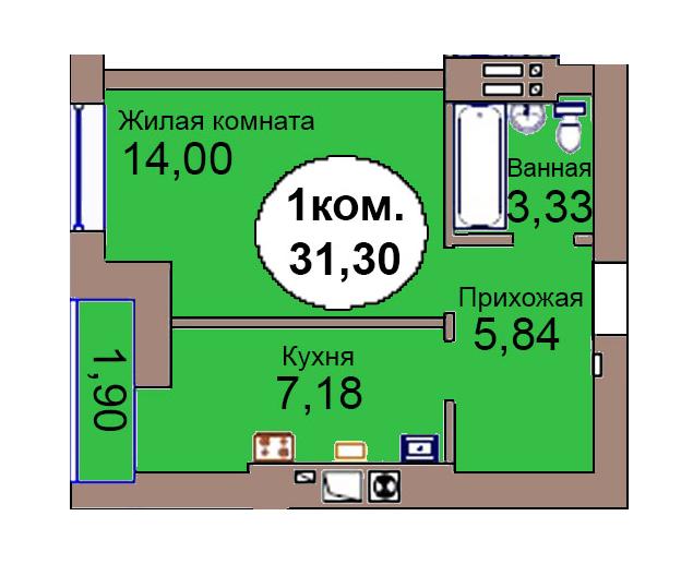 1-комн. кв. по пер. Калининградский, 4 кв. 283 в Калининграде