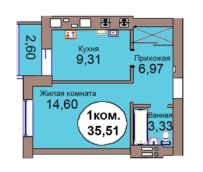 1-комн. кв. по пер. Калининградский, 4 кв. 284 в Калининграде