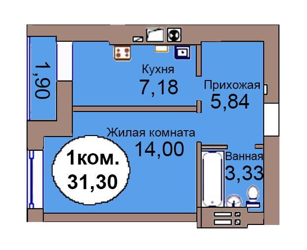 1-комн. кв. по пер. Калининградский, 4 кв. 286 в Калининграде