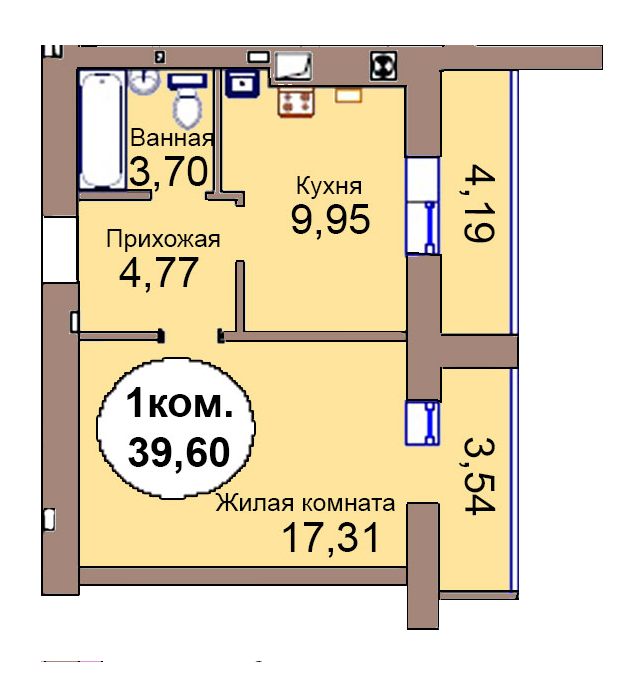 1-комн. кв. по пер. Калининградский, 4 кв. 297 в Калининграде