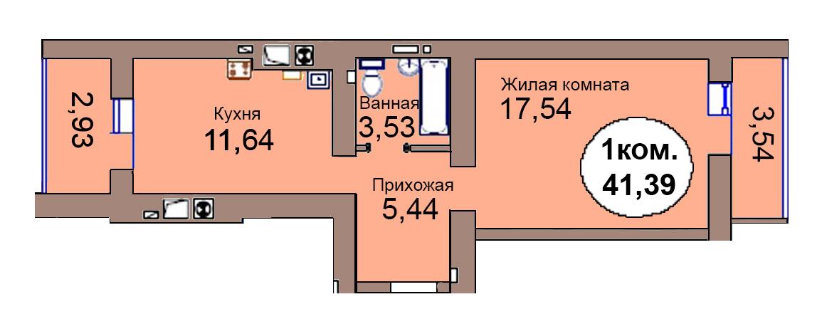 1-комн. кв. по пер. Калининградский, 4 кв. 303 в Калининграде