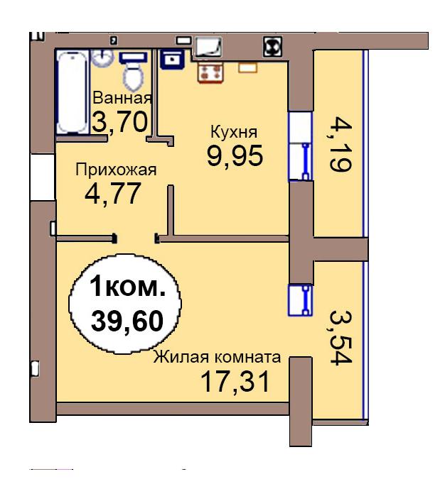 1-комн. кв. по пер. Калининградский, 4 кв. 305 в Калининграде